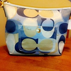 Blue multi colored scarf print coach bag